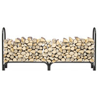 Gibson Living 8' Heavy Duty Firewood Shelter Log Rack for Fireplaces & Firepits