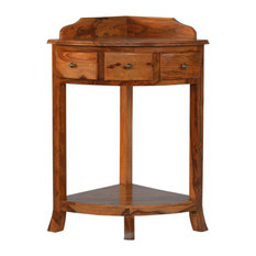 3 Drawer Solid Sheesham Wood Corner Wash Stand with a Gallery Back