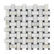 "12""x12"" Calacatta Gold Italian Marble Polished Basketweave Tile, Black Dots"