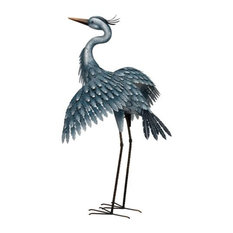 Regal Art & Gift - Regal Metallic Blue Heron, Wings Out - Garden Statues and Yard Art
