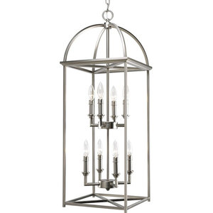 Progress Lighting Hall And Foyer 8-60W Candle, Burnished Silver