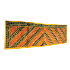 Mogul Interior - Consigned Antique Fabric, Bohemian Sari Yellow and Green Embroidered Tapestry - Tapestries