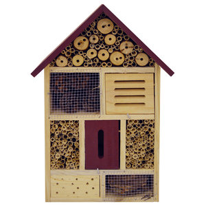 Bug 4-Storey Solid Wood Insect House, Brown and Red