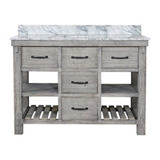 """Single Fir Sink Vanity Driftwood With Carrara White Marble Top, Gray, 48"""""""