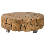 Padma's Plantation - Teak Root Coffee Table - This organic raw teak root coffee table will be the center of attention of any living room. Each is unique in its root shape and pattern.  Please note, actual furniture and fabric colors may slightly differ from photos due to lighting and one's individual monitor settings.