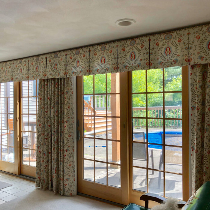 Family room window treatments with throw pillows