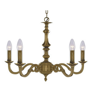 Malaga Traditional 5-Light Chain Pendant, Solid Brass