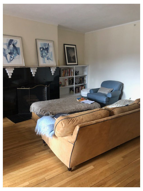 Help arranging living room with diagonal wall, bay window ...