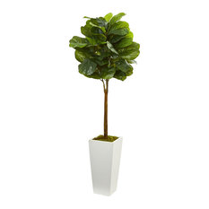 Nearly Natural 4' Fiddle Leaf Artificial Tree in White Tower Planter