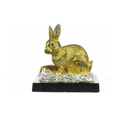 24K Gold Silver Plated Rabbit Bunny Bronze With Cubic Zirconi Sculpture Statue
