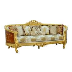 European Furniture Luxor Sofa Gold Leaf, Damask Gold Fabric