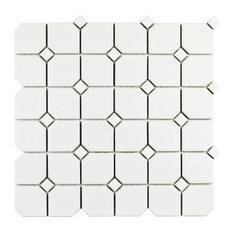 """11.75""""x11.75"""" Victorian Broadway Porcelain Wall Tile, White Dot"""