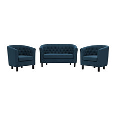 Prospect 3-Piece Upholstered Fabric Loveseat and Armchair Set, Azure