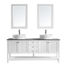 "Kempton Double Vanity, With Mirror, White, 72"""
