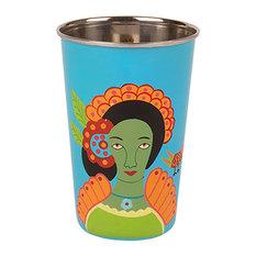 IAN SNOW - Frida Kahlo Stainless Steel Tumbler, Turquoise - Outdoor Drinkware