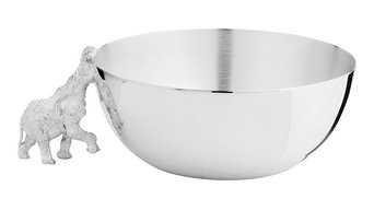 Highland Safari Medium Silver Bowl, Elephant