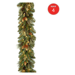 """9' x 10"""" Carolina Pine Garland with flocked cones(Pack of 4)"""