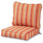 Greendale Home Fashions - Outdoor 2-Piece Deep Seat Cushion Set, Watermelon Stripe - Enhance the look and feel of your patio furniture with this Greendale Home Fashions Deep Seat Cushion Set.   The seat cushion measures 25'' x 25'' x 5inch and comes with a zipper closure -  the back pillow measures 28'' x 22'' x 5inch and is sewn closed.  The poly-wrapped foam seat cushion retains it's firm shape.  This set is the perfect replacement for many wrought iron and rattan original chair sets. Each cushion is overstuffed for extra comfort and durability with 100% recycled - post-consumer plastic bottles - and covered with a UV resistant - 100% polyester outdoor fabric that resists fading. Both cushions have trim cording.  A variety of modern prints are available.