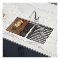 """Ruvati 30"""" Workstation Undermount Stainless Steel Kitchen Sink, RVH8345"""