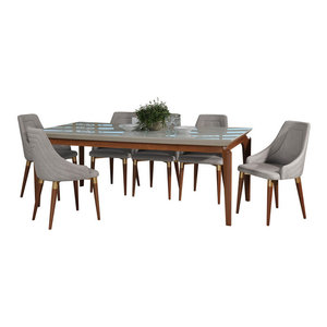 Manhattan Comfort Payson and Dover 9-Piece Dining Set, Off White - Midcentury - Dining Sets - by ...