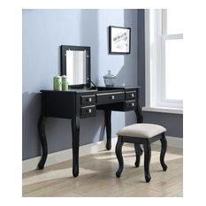 Acme Furniture Ordius Tan Fabric and Black Vanity Set