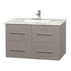 "Centra 36""Gray Oak Single Vanity,White Carrera Marble Top,Square Undermount Sink"