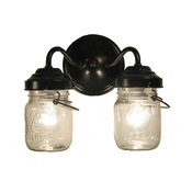 Vintage Clear Canning Jar Double Sconce Light, Antique Black