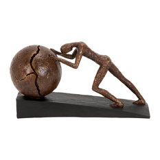 Woodland Imports - Contemporary Polystone Sculpture Man Pushing Sphere Bronze Color Decor 58264 - Decorative Objects and Figurines