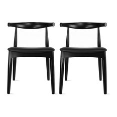 Set of 2 Real Oak Wood PU Leather Cushion Seat Modern Wood Side Dining Chair, Bl