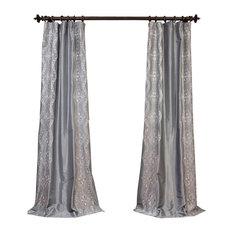 "Chai Silver Embroidered Faux Silk Taffeta Curtain Single Panel, 50""x84"""