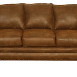 American Furniture Classics - Sedona, Sleeper Sofa - The Sedona sleeper sofa features a beautiful leather-look microfiber fabric with rustic antique brass nailhead accents. Solid wood frames and legs create a product that will last for years, and the curved arm design softens this set with elegance. Fiber wrapped, high density foam cushions offer a soft but supportive seating experience. The sleeper sofa includes an inner spring, quilted top queen mattress and features a Leggett & Platt mechanism.