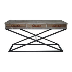 Syracuse Sofa Table Metal Base Wood Top And Leather Strap
