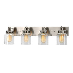 Luxury Farmhouse Bath Vanity Light, Bridgeport Series, Brushed Nickel