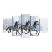 """Herd of Horses Run Across Snow"" Metal Wall Art, 5 Panels, 60""x32"""