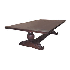 Hillside Furniture Co.   Colonial Heritage Hand Carved Base Trestle Table   Dining  Tables