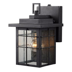 1 Light Small Outdoor Photocell Wall Lantern Textured Black Clear Seedy Gl