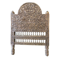 Consigned Headboard Floral Hand Carved Rustic Reclaimed Bed Frame