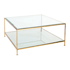 Worlds Away   Quadro Hammered Metal Square Coffee Table With Beveled Glass,  Gold Leaf
