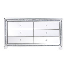 Marina Silver Crystal Mirrored 6-Drawer Cabinet