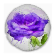 """Blue Rose Flower with Paint Splashes Floral Throw Pillow, 20"""" Round"""