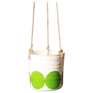 Ulla Spotty Hanging Pots, Green, Small, Set of 2