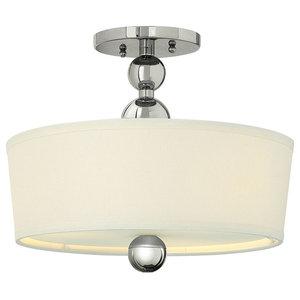 Zelda Modern Semi-Flush Ceiling Light, Polished Nickel