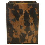 Rembrandt Home - Polished Marble Bathroom Wastebasket, Black & Brown - Each accessory was carved from King Gold marble. Naturally colored with deep and warm browns as well as shades of white veins running throughout, creating a one-of-a-kind pattern with each piece.
