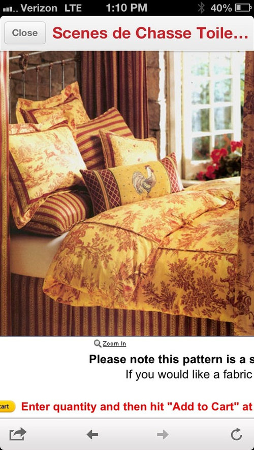 Red And Yellow Toile Curtains