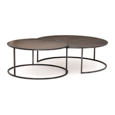 Catalina Nesting Coffee Tables in Antique Brass Clad
