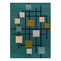 Contemporary Area Rug, Ingenue Collection, Aqua, 10'x14'