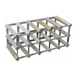 Contemporary 15 Bottle Wine Rack, Finished Pine Wood with Steel Frame
