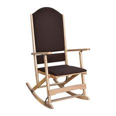 Solid Wood Folding Rocking Chair With Upholstered Seat & Back, Natural