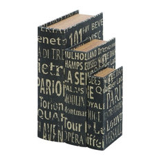 Contemporary and Modern Faux Book Boxes with European Landmarks Home Decor