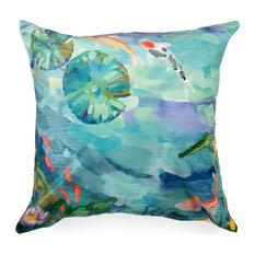 "Liora Manne Illusions Peaceful Pond Indoor/Outdoor Pillow, Seafoam, 18"" Square"